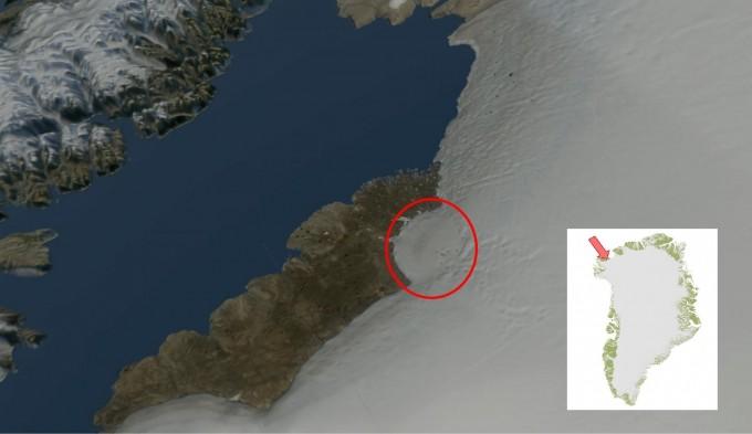 그린란드 북부 히아와타(Hiawatha) 빙하 아래 깊이 1km 지점에서 과거 거대 운석의 충돌한 흔적이 확인됐다.-덴마크 자연사박물관 제공