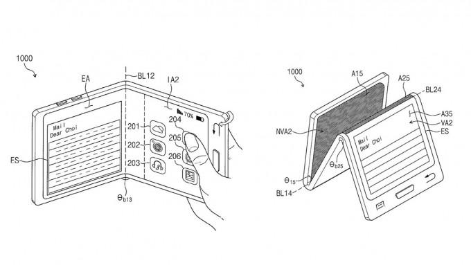 지난 5월 삼성전자가 등록한 특허 디자인. 3등분으로 접히는 폴더블폰의 디자인(아래)도 독특합니다. 미국 특허청(USPTO) 제공