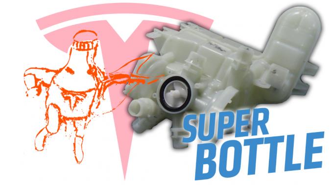 테슬라3에는 일반 냉각수통과 다른 형태의 냉각수통이 장착됐다. 엔진을 더 빠르게 식힐 수 있다.-잘롭닉 제공