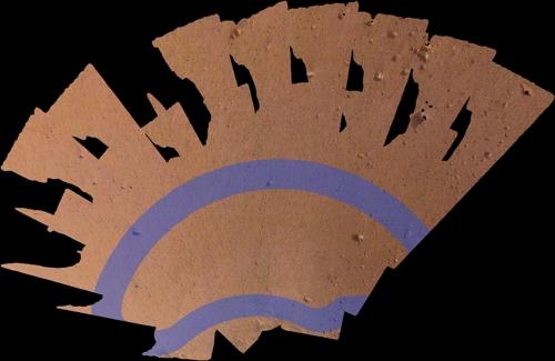 인사이트호가 지진계등의 장비를 설치할 공간의 사진도 공개됐다. 보라색 줄 안이 지진계나 열탐지기가 설치될 후보지역이다.-미국항공우주국 제공