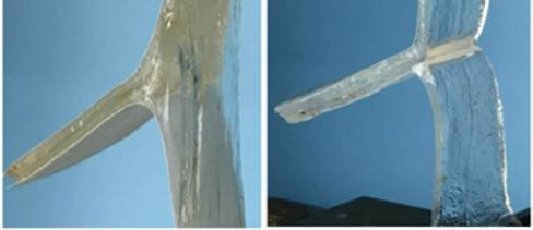 연구진이 개발한 접착제는 젖은 물질을 강하게 붙여주지만 자외선을 쬐면 쉽게 떼어낼 수 있다. 접착한 하이드로겔을 강제로 뜯어낼 때 표면이 찢어지는 모습(왼쪽)과 자외선을 쪼였을 때 표면이 찢어지지 않고 분리되는 모습(오른쪽). -지강 수오 제공