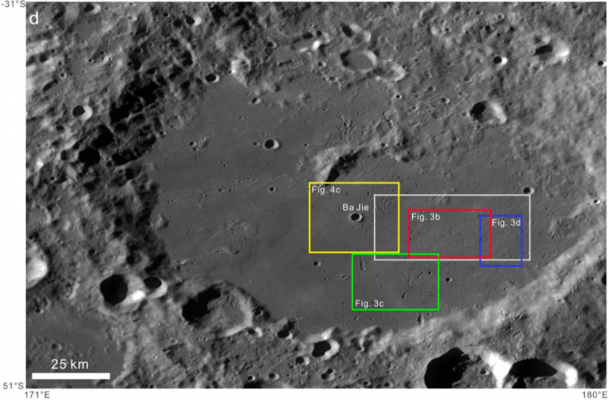 창어 4호가 세계 최초로 착륙을 시도할 예정인 달 뒷면의 남극 근처 아이트켄 분지. 예정대로라면 창어 4호는 이달 말 폭 186㎞의 본 카르만 크레이터(흰색 박스)에 착륙한다. - 자료: 중국과학원