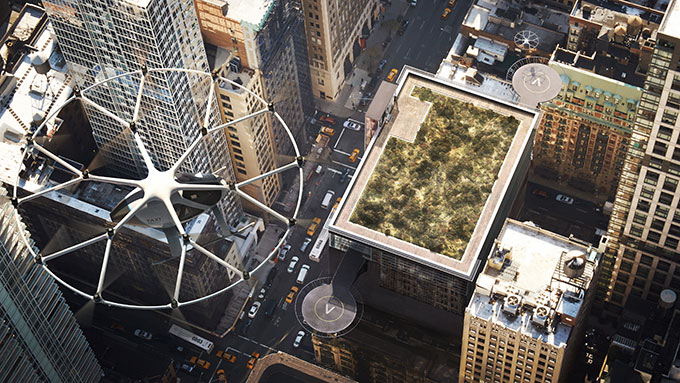 도시의 건물에서 이착륙 하기 때문에 먼 공항에 갈 필요가 없다. volocopter
