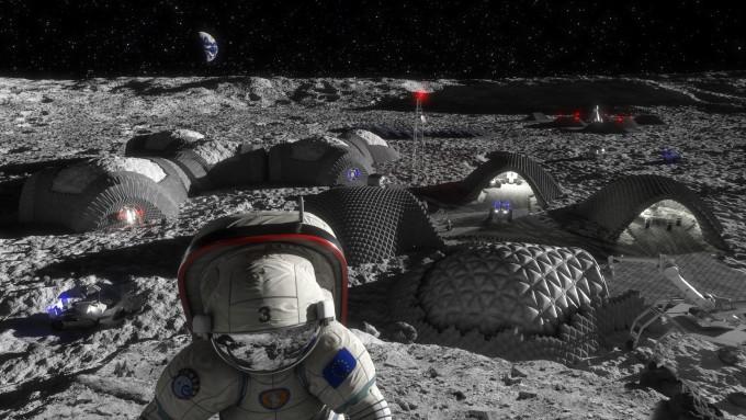 달 토양 블록으로 지은 달 기지 상상도. 출처 RegoLight, visualisation Liquifer Systems Group, ESA