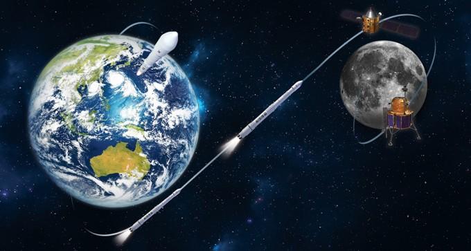 한국은 2020년 미국 스페이스X의 재사용로켓 팰컨9으로 시험용 달 궤도선을 발사하고, 2030년 이전에 한국형발사체(KSLV-Ⅱ) 누리호로 달 탐사선을 보낼 계획을 세웠다. 한국항공우주연구원 제공