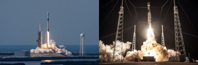 3일 새벽 '차세대소형위성 1호'를 쏘아 올릴 예정인 미국 스페이스X의 재사용로켓 '팰컨9-블록5'가 올해 5월(왼쪽)과 8월(오른쪽) 발사된 모습. 이번에 발사되는 로켓의 1단은 발사 후 회수 과정을 이미 2번 반복한 것으로, 실용위성을 쏘아올릴 수 있는 로켓 하나를 3번 발사하는 것은 이번이 처음이다. - 스페이스X 제공