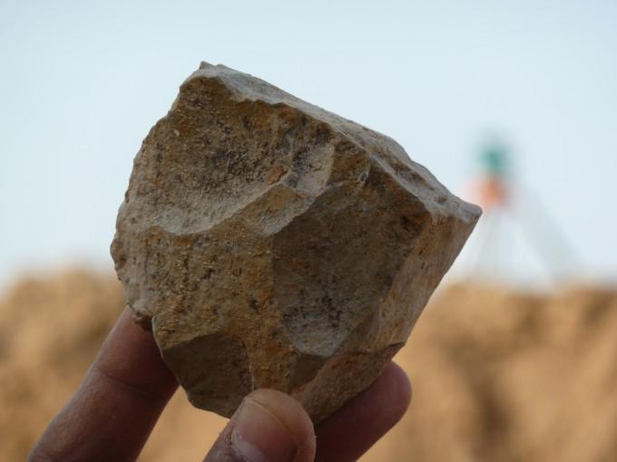 작은 소의 앞다리뼈 화석에 홈이 패여 있다. 석기를 이용해 살을 발라낼 때 생긴 흔적이다. 아래는 확대사진이다. -사진 제공 사이언스
