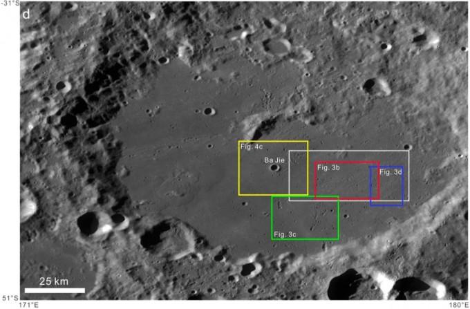 중국이 이달 8일 달 탐사선 '창어 4호'를 발사해 세계 최초로 착륙을 시도할 예정인 달 뒷면의 남극 근처 아이트켄 분지. 예정대로라면 창어 4호는 이달 31일경 이곳(흰색 박스)에 착륙한다. - 자료: 중국과학원