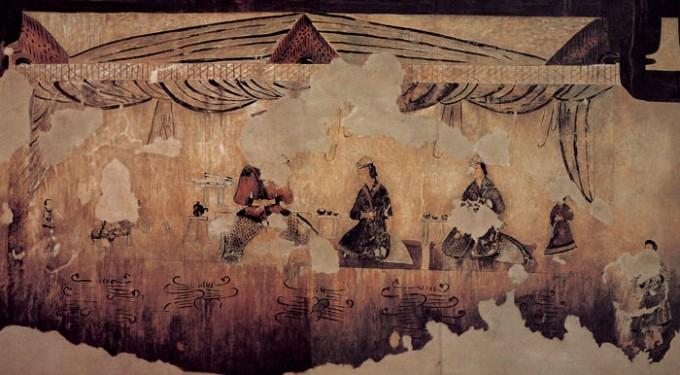 5세기 말에서 6세기 초의 무덤으로 보이는 고구려 각저총(角抵塚)에 그려져 있는 벽화로 귀족으로 보이는 남녀 세 사람이 차를 마시고 있다. 다기(茶器)가 잘 갖춰져 있는 것으로 봐서 이 무렵 우리나라에 차문화가 정착해 있었음을 시사하고 있다. 위키피디아 제공