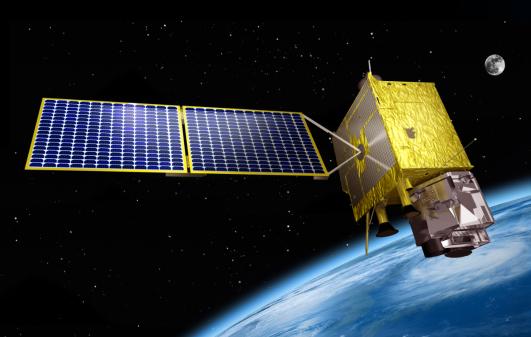 한국이 독자 개발한 첫 정지궤도위성인 기상관측위성 '천리안 2A호'가 우주에서 운용되는 모습의 상상도. - 한국항공우주연구원 제공