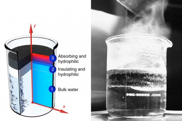 2014년 연구진은 햇빛을 받아 증기를 발생시키는 흑연 발포체를 개발했다. 물 위에 떠서 증기를 발생시키는 장치다. -강 첸 제공