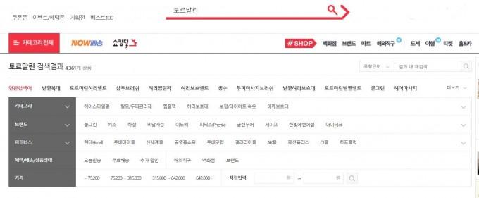 12월 31일 기준 모 쇼핑웹사이트에 토르말린이란 키워드로 검색하면 총 4383개가 검색된다. 대부분의 토르말린 제품들은 음이온 효과를 홍보하고 있다. -11번가 홈페이지 캡처