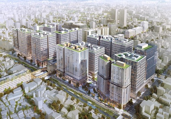 세운 3-4, 3-5 구역에 건설 예정인 주상복합 건물의 조감도 -한호건설 홈페이지 캡처