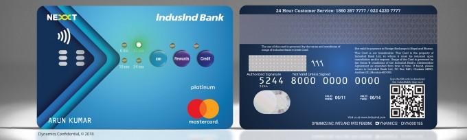 인더스인드 뱅크가 내 놓을 신용카드의 실제 앞, 뒷면 모습.