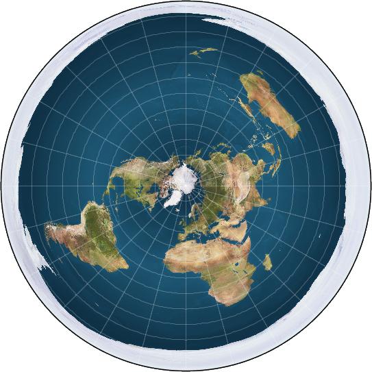 2020년 지구가 평평하다고 믿는 사람들의 축제가 호화 크루즈선 위에서 열린다. 그들이 주장하는 지구 평면설에 근거한 평평한 원반형의 지구 모습. -평평한 지구 학회 제공