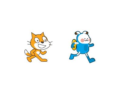 코딩 툴 ′스크래치′의 고양이 캐릭터와 ′엔트리′의 봇 캐릭터. 스크래치' 대신 '엔트리'를 선택했다.