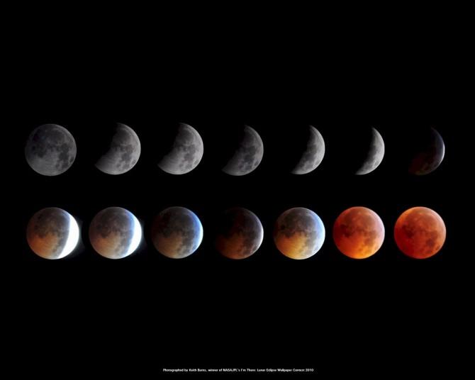 개기월식의 단계적 변화 나타났다. 사진을 통해 점점 붉은 색으로 변하는 모습을 확인할 수 있다. - NASA 제공