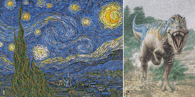 1 5만 개의 라이터로 만든 고흐의 '별이 빛나는 밤'. 2 24만 개의 플라스틱 봉투로 만든 공룡 그림. 이는 전 세계에서 10초마다 사용되는 플라스틱 봉투의 양과 같다. Chris Jordan