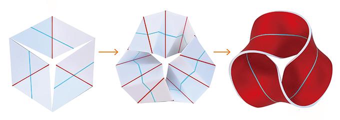 사면체 개수를 늘리면 3번 꼬인 뫼비우스 띠가 나타나는 뫼비우스 칼레이도사이클. 엘리엇 프라이드, PNAS 제공
