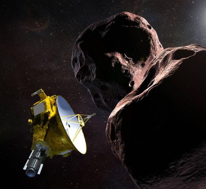 태양계 무인탐사선 '뉴호라이즌스호'가 태양계 최외곽 소행성 '울티마 툴레'에 접근한 모습을 상상한 그림이다. 뉴호라이즌스호는 1일 이 천체에 3500km까지 접근했다. -사진 제공 NASA