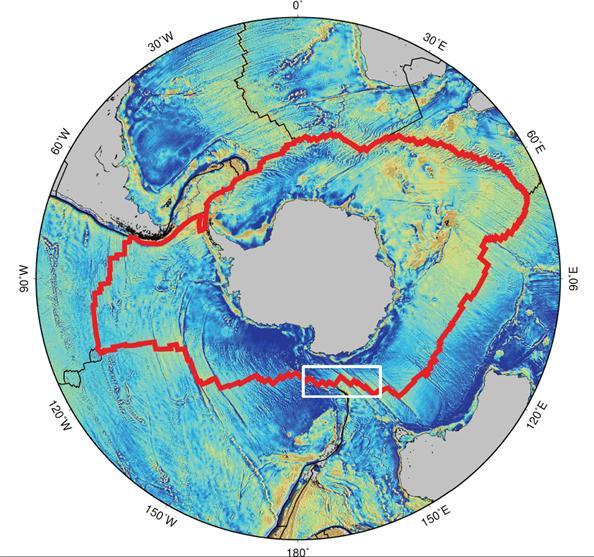 남극 대륙을 둘러싸고 있는 환 남극 중앙해령(붉은 선)과 아라온호 탐사 지역인 호주-남극 중앙해령(하얀 실선 네모 부분). -사진 제공 극지연구소
