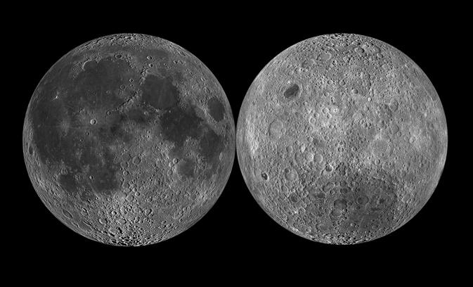 달의 앞면(왼쪽)과 지구에서 보이지 않는 달의 뒷면(오른쪽). 달 뒷면은 앞면보다 크레이터(분화구)가 많다. 중국의 '창어 4호' 임무는 달의 변천사와 관련된 새로운 단서를 얻을 것으로 기대를 모은다. - 미국항공우주국 제공