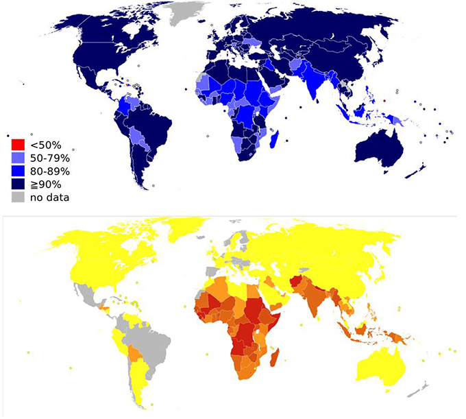 홍역백신 개발 및 보급은 현대 보건학의 위대한 승리로 불과 수십 년 만에 매년 수백만 명에 이르는 사망자를 수만 명 수준으로 낮췄다. 오늘날 홍역백신 접종률(위)과 홍역으로 인한 사망률(아래. 빨간색이 짙을수록 높다) 지도로 반비례 관계임을 알 수 있다. 위키피디아 제공