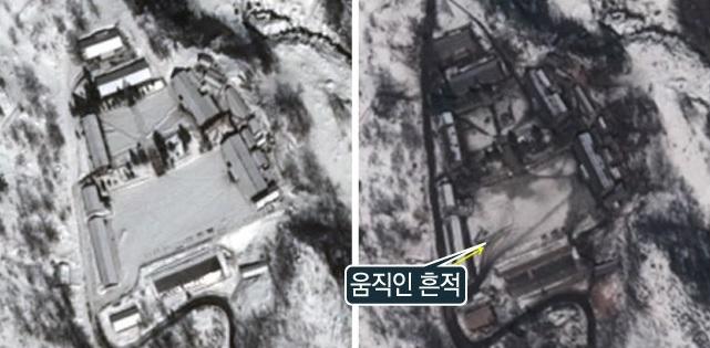 존스홉킨스 한미 공동 연구소가 운영하는 북한 감시 사이트인 ′38노스′가 위성 영상 분석을 통해 포착한 북한 풍계리 남쪽터널의 활동 변화. - 자료: 38노스