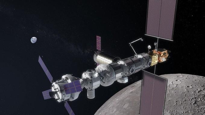 2030년대 유인(有人) 화성 탐사를 위한 전진기지로 개발 중인 '달 궤도 우주정거장'의 상상도. - 위키미디어 제공