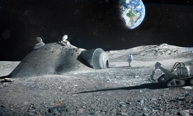 달 기지 상상도. 유럽우주국(ESA)은 아리안그룹 등과 함께 2025년 이전에 달에 가 표토를 채취해 자원화 가능성을 연구할 계획을 세웠다. -사진 제공 ESA