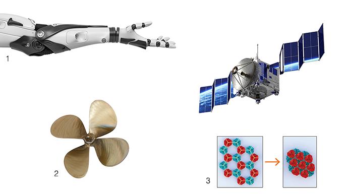 1. 로봇팔과 인공기관의 연결 부분- 안팎으로 자연스럽게 뒤집히는 뫼비우스 칼레이도사이클을 관절로 사용하면 로봇이 자연스럽게 움직일 수 있다. 2. 자동 추진 잠수함의 프로펠러 -뫼비우스 칼레이도사이클은 도형이 뒤집히면서 물을 원하는 방향으로 밀어내 잠수함을 움직이는 프로펠러로 사용할 수 있다. 3. 우주선의 태양광 패널 - 접혔다 넓게 펼쳐지는 우주선의 태양광 패널은 뫼비우스 칼레이도사이클을 여러 개 연결해 조금 더 효과적으로 만들 수 있다. 게티이미지뱅크, 엘리엇 프라이드, PNAS 제공