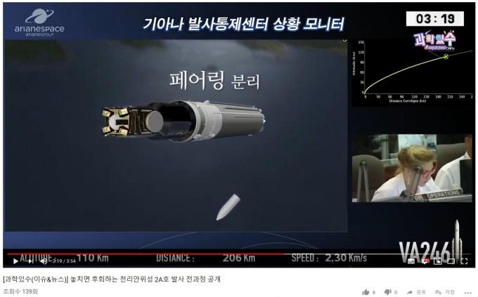 과기정통뷰 유튜브 채널에 업로드된 놓치면 후회하는 천리안위성2A호 발사 전과정 공개 동영상. 유튜브 화면 캡처.