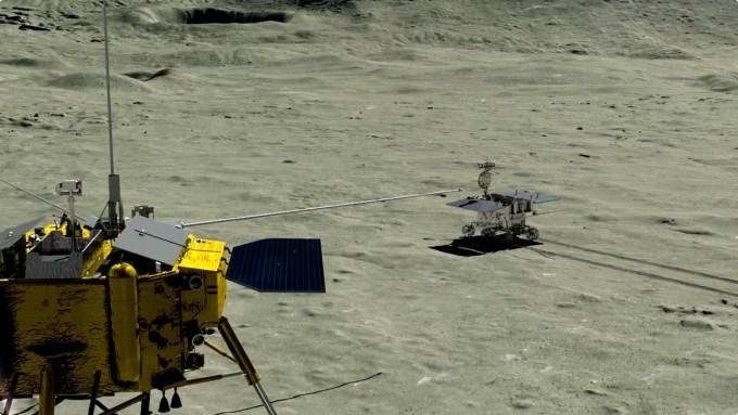 중국의 달 탐사선 '창어 4호'와 탐사로봇(로버) '광밍'이 달 뒷면에서 탐사 활동을 하는 모습을 그린 상상도. - 중국과학원 제공