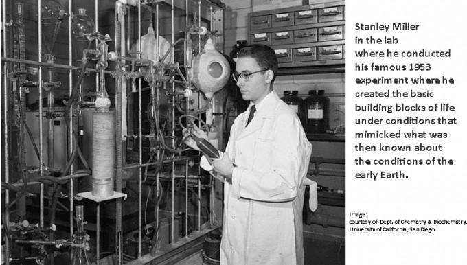 지구의 원시 대기를 재현한 실험장치 앞에서 포즈를 취한 스탠리 밀러. 당시 23세의 대학원생 신분으로 언론의 주목을 한 몸에 받았다. 시카고대 제공