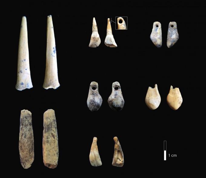 데니소바 동굴에서 출토된 뼈로 만든 바늘과 이빨로 만든 장신구. 연구팀은 데니소바인의 작품으로 추정했지만, 아직 논란의 여지가 있다. -사진 제공 카테리나 도카