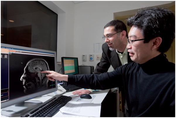 로스앤젤레스 아동병원 연구팀이 VR 게임을 할 때 통증을 느끼는 신경회로에서 뇌 활성이 떨어지는 것을 확인하고 있다. Pain Management 제공