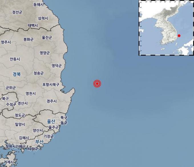 10일 낮 12시 53분경 발생한 지진이 일어난 지점. 기상청 제공.