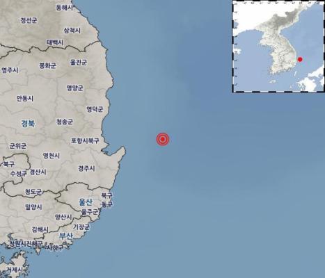 경북 포항 동북동쪽 50km 해역서 규모 4.1 지진