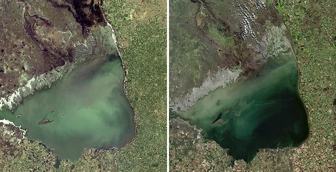 (왼쪽 사진)1999년 마르치키타호의 모습. (오른쪽 사진)2017년 마르치키타호의 모습. 물이 줄어들어 크기가 작아졌고, 호수 중간 섬이 더 드러났다. ESA