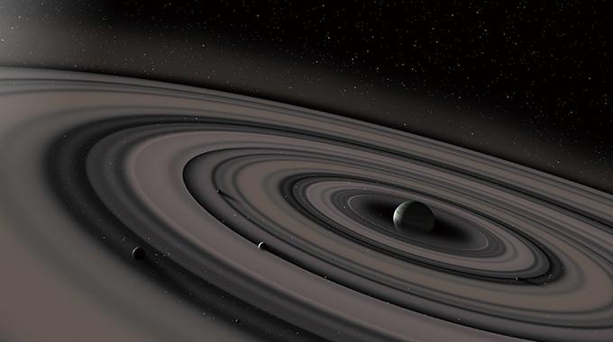 고리를 가진 행성은 우주 어디에나 존재할 수 있다. 지구에서 센타우르스자리 방향으로 434광년 떨어져 있는 외계행성 'J1407b'는 반지름이 약 9000만km에 이르는 거대한 고리를 갖고 있을 것으로 추정된다. 그림은 J1407b 상상도다. Ron Miller