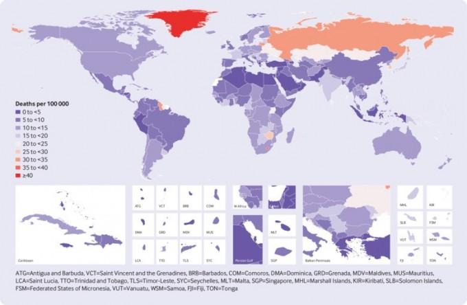 전세계의 2016년 자살률을 표시한 지도. 남녀 합한 수치다. 한국보다 높은 나라는 손에 꼽힌다. -사진 제공 영국의학저널