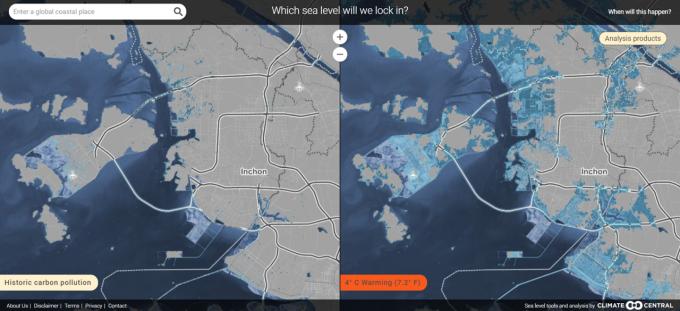 ′클라이메이트 센트럴′이 내놓은 ′매핑 초이스′가 분석한 지구 기온이 4도 올랐을 때 인천 지역의 해수면 변화도(오른쪽). 해안가 대부분의 지역이 물에 잠긴다는 뜻인 파란 색으로 표현됐다. 매핑 초이스 사이트 캡처.