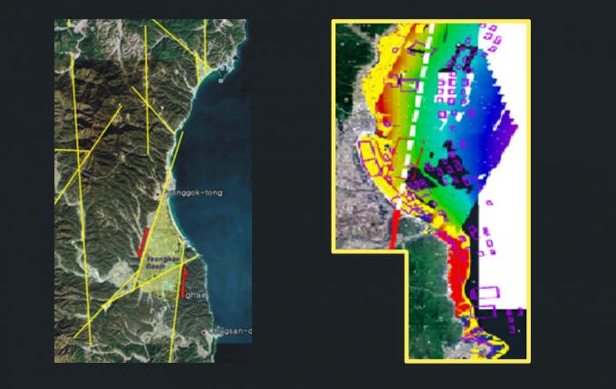 양산단층이 힘에 의해 끊어져 좌우로 멀어지면서 그 안에 영해분지가 마련되는 과정을 모식도로 나타냈다(왼쪽). 양산단층이 확장될 것으로 추정되는 지역을 지도에 하얀 점선으로 표시했다. 보라색 사각형으로 표시된 부분은 지역 어민들의 어망의 위치다. 한국지질자원연구원 제공