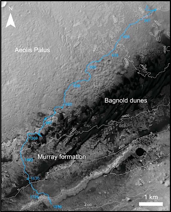 화성 지도에 나타낸 큐리오시티의 이동 경로. NASA 제공
