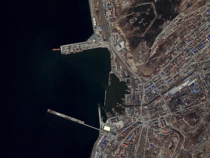일제 시대 강제징용지 가운데 하나였던 러시아 사할린 코르사코프 항구. 다목적실용위성 3A호로 작년 4월 촬영했다. 사진 제공 과학기술정보통신부