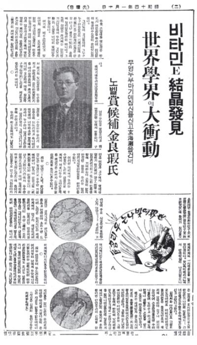 1939년 김양하 박사의 비타민E 연구에 대한 당시 언론 보도. 김 박사의 연구 성과는 일본 과학계에서도 선구적이라는 평가를 받았다. 이에 언론은 김 박사를 노벨 과학상 후보로 추천해야 한다고 보도했다.동아일보