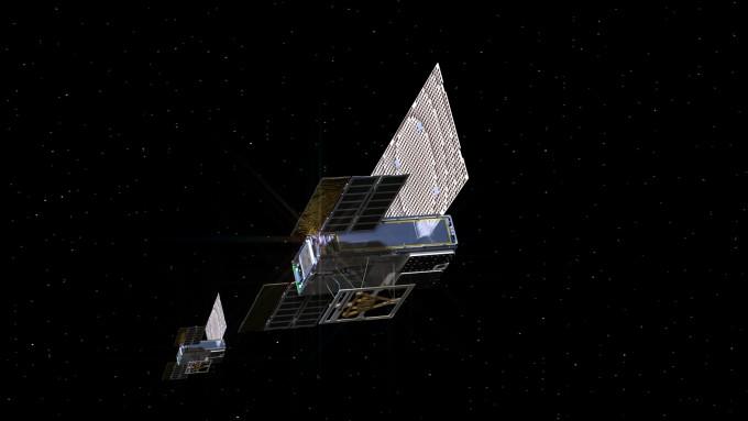 지난해 11월 NASA의 화성탐사선 인사이트가 화성에 착륙했을 당시 과학임무를 수행한 두 기의 큐브위성의 렌더링 이미지. NASA 제공