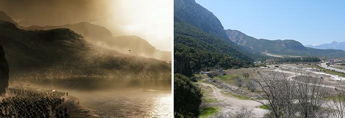영화 <300>에서 재현한 테르모필레의 과거 모습(왼쪽)과 사진으로 찍은 현재 모습(오른쪽). 해안선이 후퇴하여 마른 땅이 드러났고, 그 위를 고속도로가 지나고 있다. Warner Bros. Pictures/유튜브 캡쳐. Fkerasar(W)