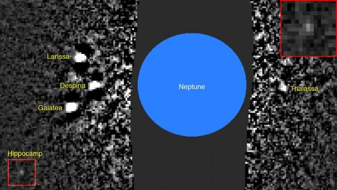 히포캄프를 발견하게 된 영상. 왼쪽 아래 작은 빨간색 상자 안 천체가 히포캄프다. 확대 영상은 오른쪽 위에 있다. -사진 제공 세티연구소