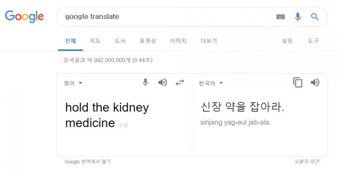 구글 번역기 스크린샷